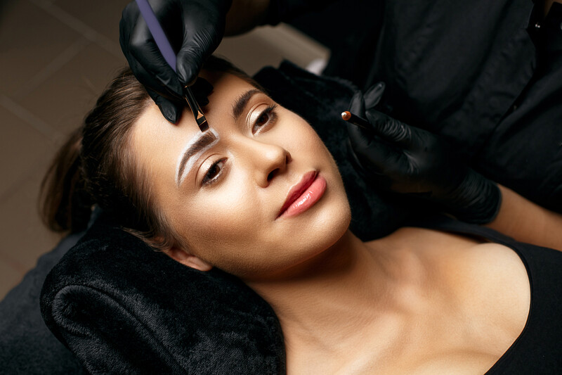 brow marking before semi permanent eyebrows are created